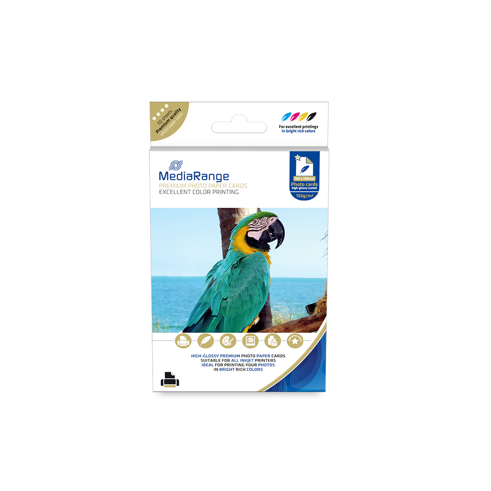 Φωτογραφικές Κάρτες MediaRange για Inkjet Εκτυπωτές High-Glossy 150g/m²  50 Φύλλα (MRINK115)