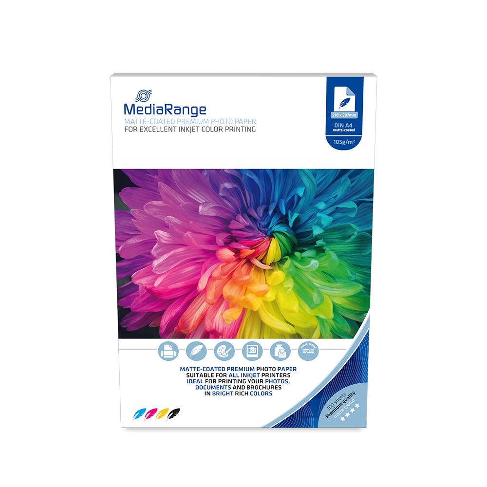 Φωτογραφικό Χαρτί MediaRange για Inkjet Εκτυπωτές Α4 Matte 105g/m² 100 Φύλλα (MRINK116)