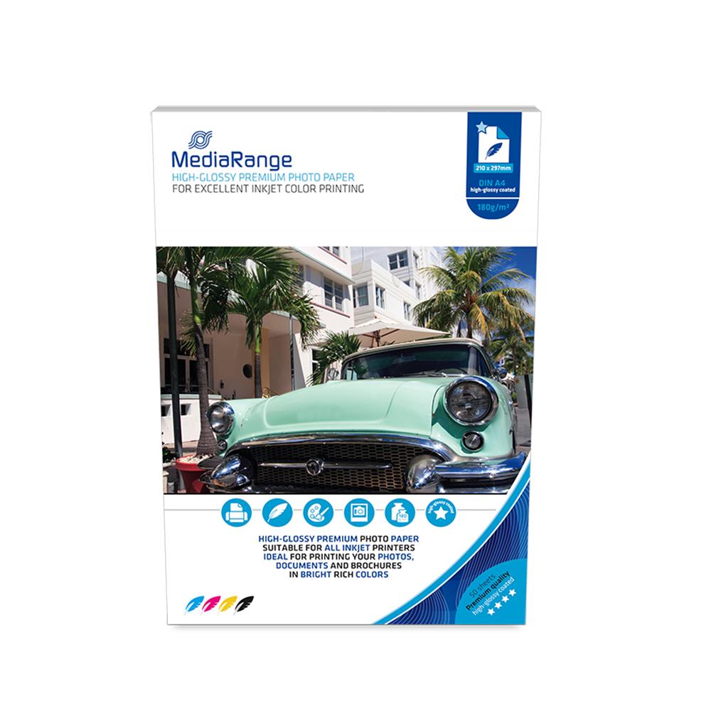 Φωτογραφικό Χαρτί MediaRange για Inkjet Εκτυπωτές Α4 High-Glossy 180g/m² 50 Φύλλα (MRINK117)