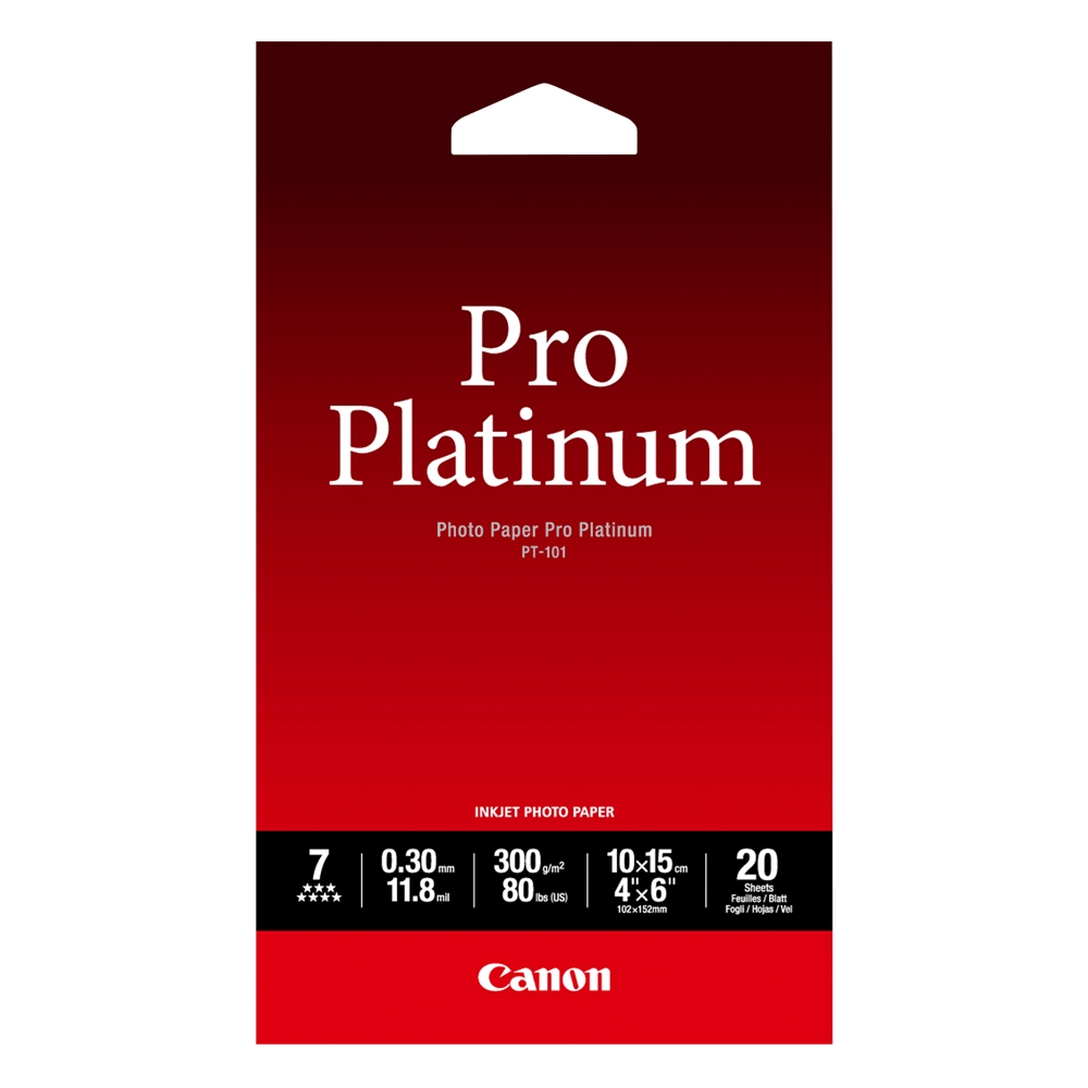 Φωτογραφικό Χαρτί Pro Platinum CANON A6 Glossy 300g/m² 20 Φύλλα (2768B013) (CAN-PT-101A6)