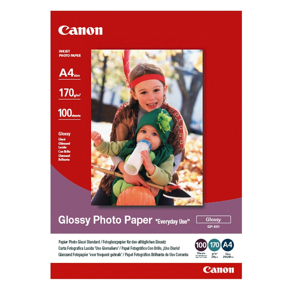 Φωτογραφικό Χαρτί CANON A4 Glossy 170g/m² 100 Φύλλα (0775B001) (CAN-GP-501A4)