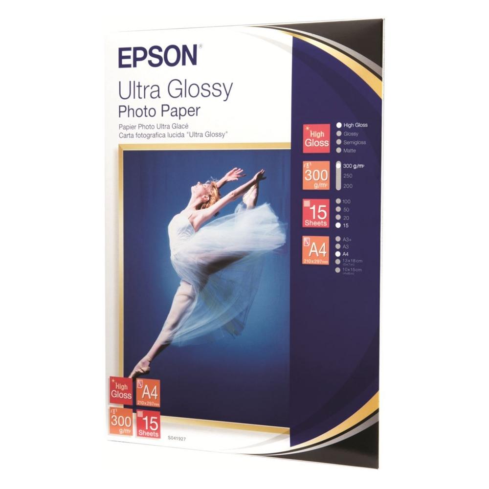 Φωτογραφικό Χαρτί EPSON A4 Ultra Glossy 300g/m² 15 Φύλλα (C13S041927) (EPSS041927)