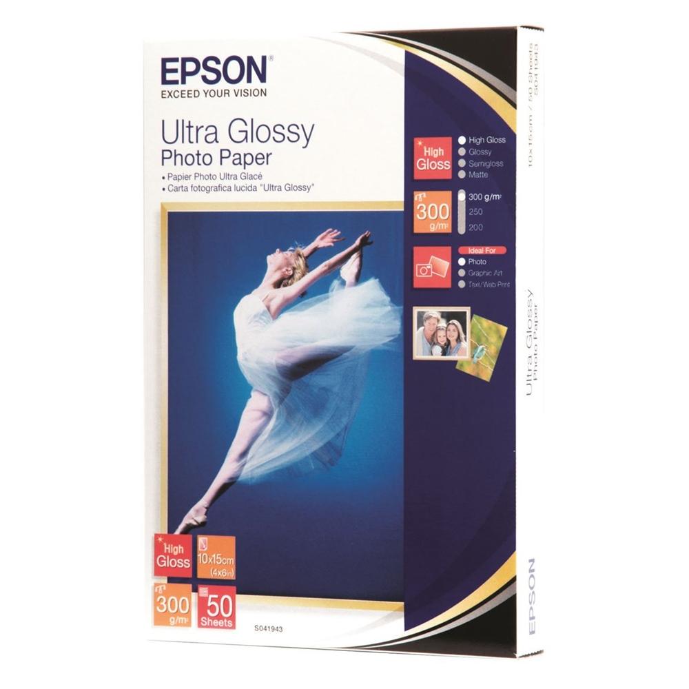 Φωτογραφικό Χαρτί EPSON 100x150mm Ultra Glossy 300g/m² 50 Φύλλα (C13S041943) (EPSS041943)