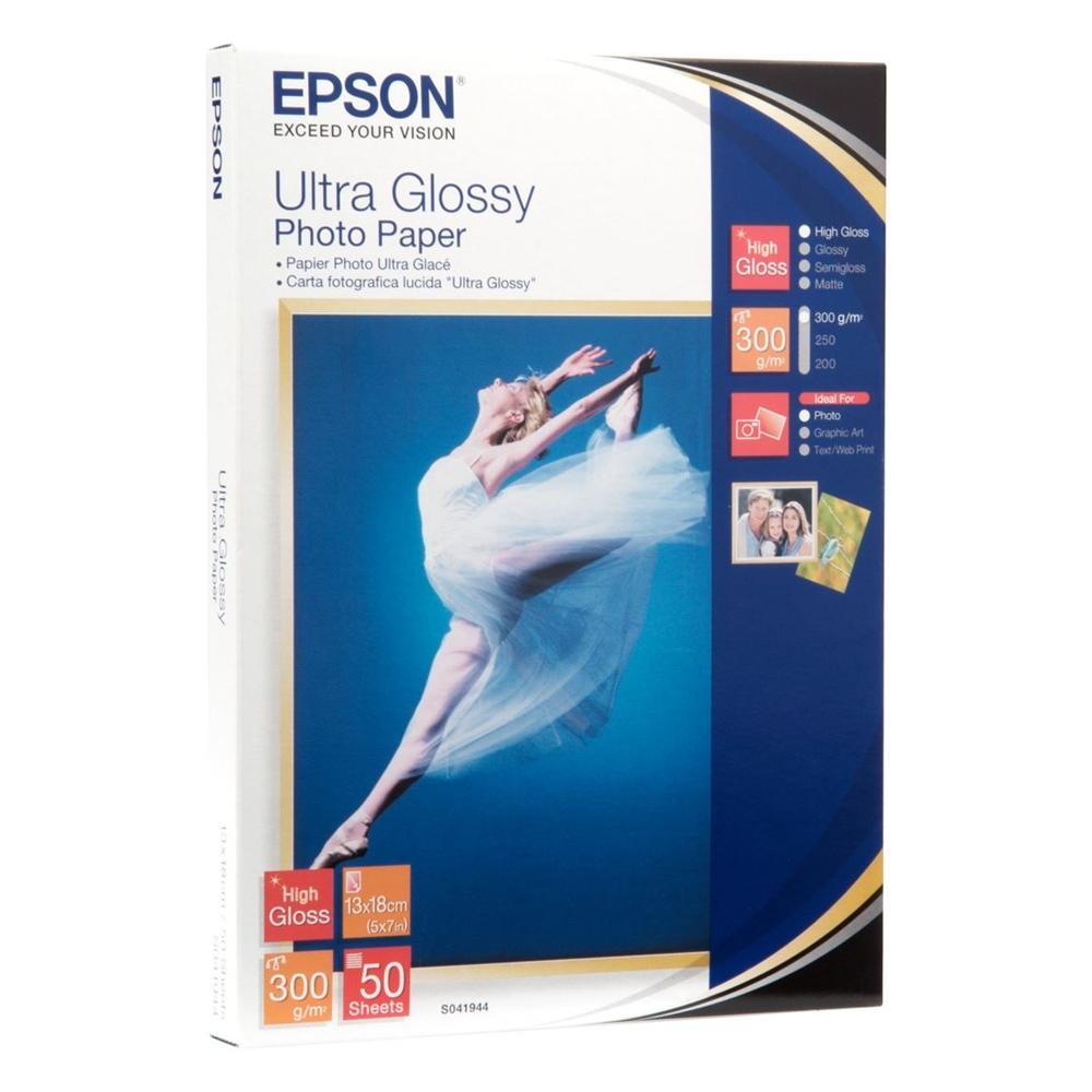 Φωτογραφικό Χαρτί EPSON 130x180mm Ultra Glossy 300g/m² 50 Φύλλα (C13S041944) (EPSS041944)