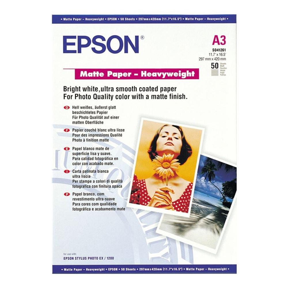 Φωτογραφικό Χαρτί Heavyweight EPSON A3 Matte 167 g/m²  50 Φύλλα (C13S041261) (EPSS041261)