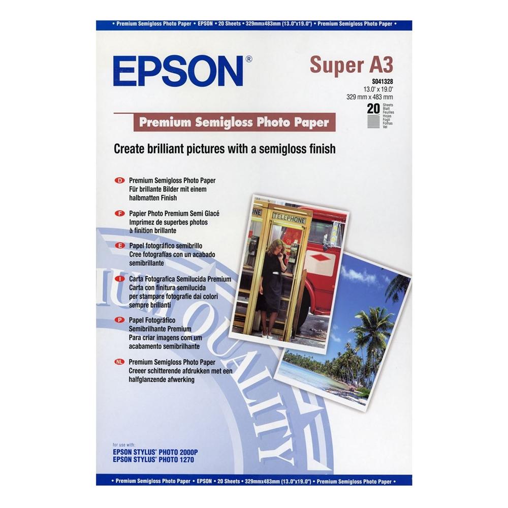 Φωτογραφικό Χαρτί EPSON A3+ Premium Semigloss 250 g/m²  20 Φύλλα (C13S041328) (EPSS041328)