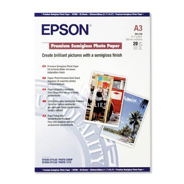 Φωτογραφικό Χαρτί EPSON A3 Semi Gloss 251g/m² 20 Φύλλα (C13S041334) (EPSS041334)