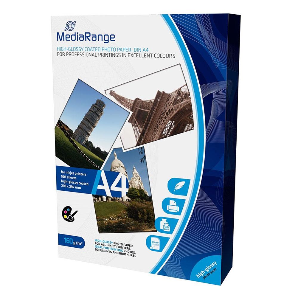 Φωτογραφικό Χαρτί MediaRange για Inkjet Εκτυπωτές Α4 High-Glossy 160g/m²  100 Φύλλα (MRINK105)