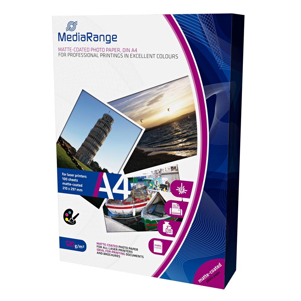 Φωτογραφικό Χαρτί MediaRange για Laser Εκτυπωτές Α4 Matte 120g/m²  100 Φύλλα (MRINK106)