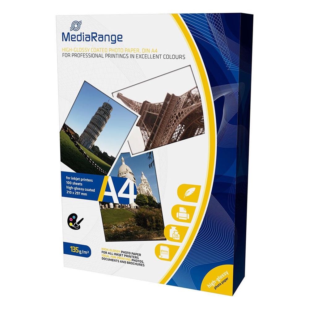 Φωτογραφικό Χαρτί MediaRange για Inkjet Εκτυπωτές Α4 High-Glossy 135g/m²  100 Φύλλα (MRINK107)
