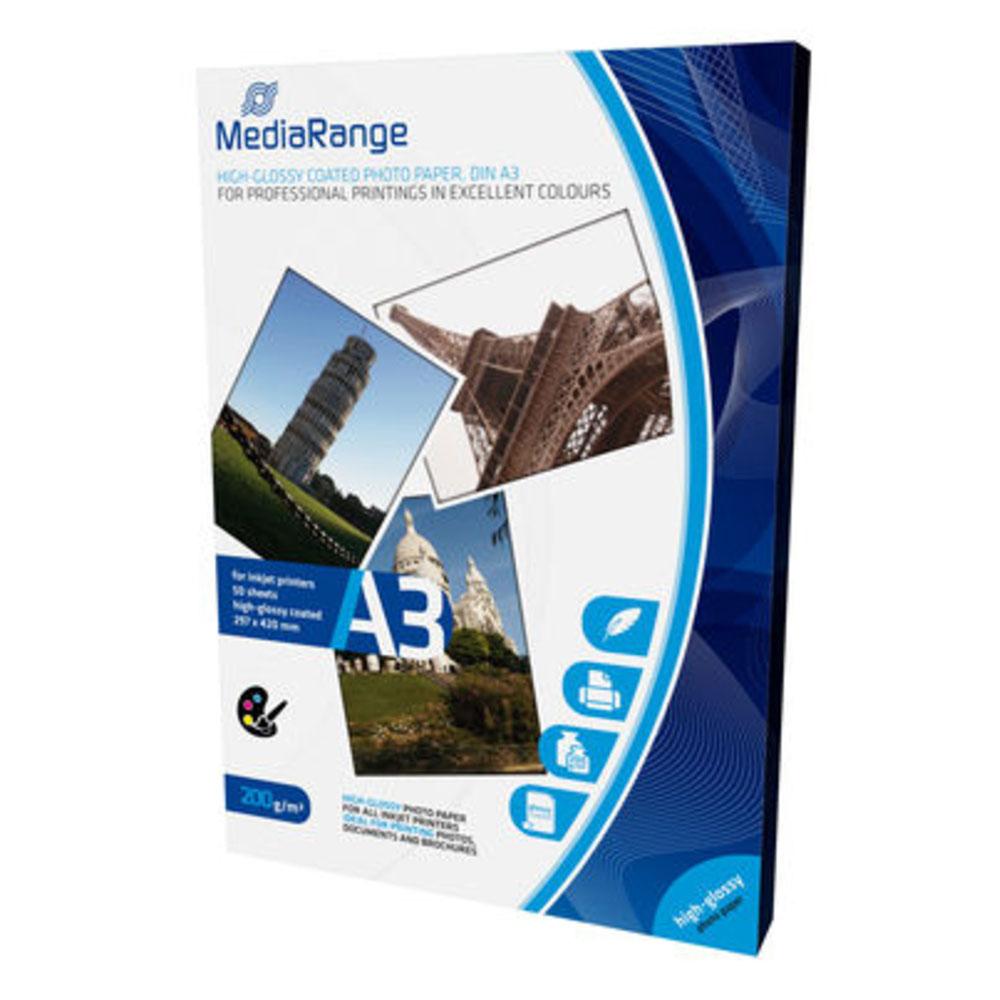Φωτογραφικό Χαρτί MediaRange για Inkjet Εκτυπωτές A3 High-Glossy 200g/m²  50 Φύλλα (MRINK109)