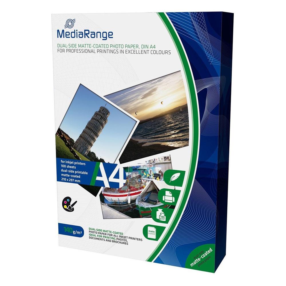 Φωτογραφικό Χαρτί MediaRange για Inkjet Εκτυπωτές A4 Dual-side Matte 140g/m²  100 Φύλλα (MRINK111)