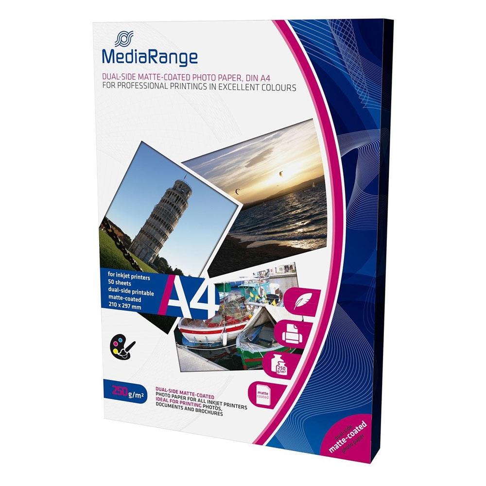 Φωτογραφικό Χαρτί MediaRange για Inkjet Εκτυπωτές A4 Dual-side Matte 250g/m²  50 Φύλλα (MRINK112)
