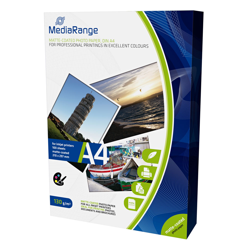 Φωτογραφικό Χαρτί MediaRange για Inkjet Εκτυπωτές A4 Matte 130g/m² 100 Φύλλα (MRINK101)