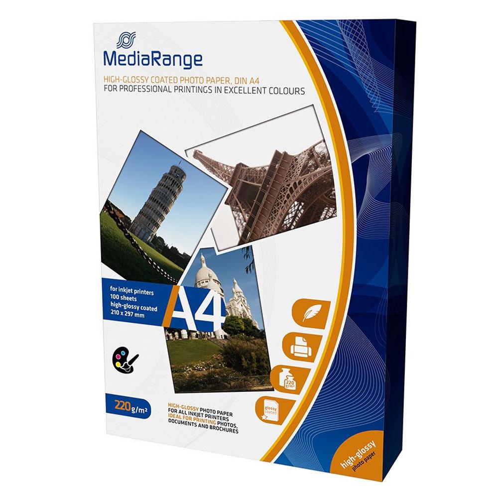 Φωτογραφικό Χαρτί MediaRange για Inkjet Εκτυπωτές A4 High-Glossy 220g/m² 100 Φύλλα (MRINK103)