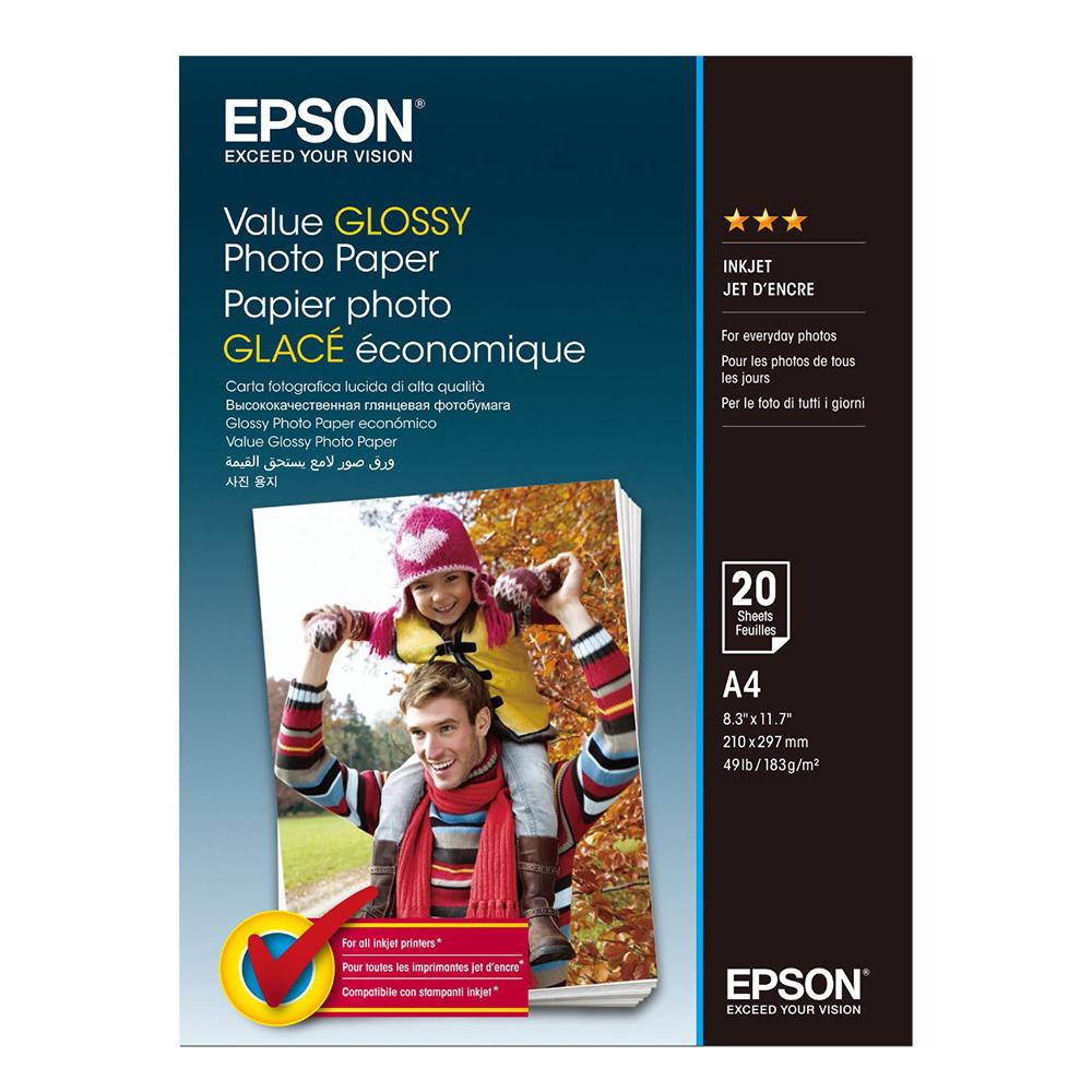 Φωτογραφικό Χαρτί EPSON Value Glossy A4 183 g/m²  20 Φύλλα (C13S400035) (EPSS400035)