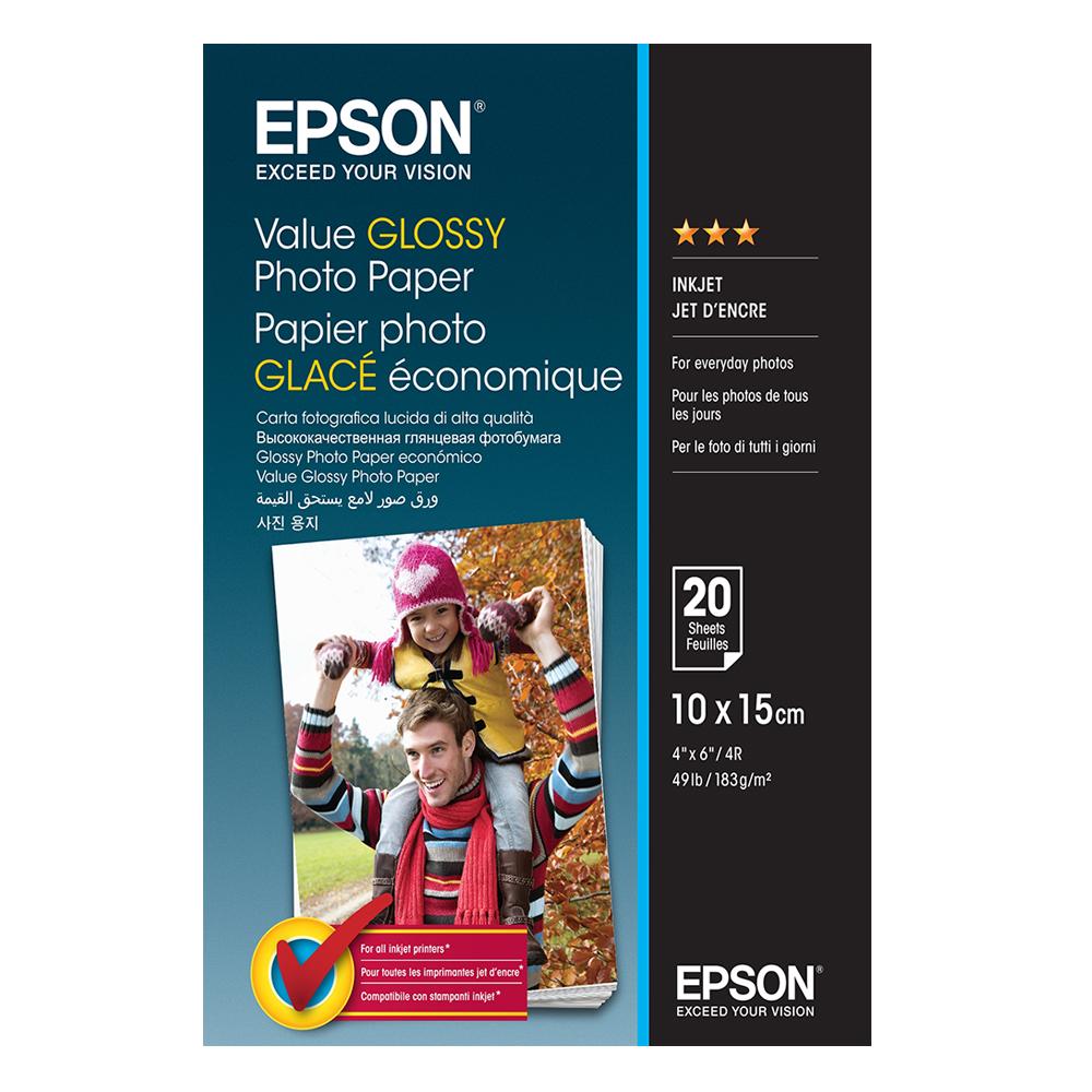 Φωτογραφικό Χαρτί EPSON Value Glossy 10 x 15 cm. 183 g/m²  20 Φύλλα (C13S400037) (EPSS400037)