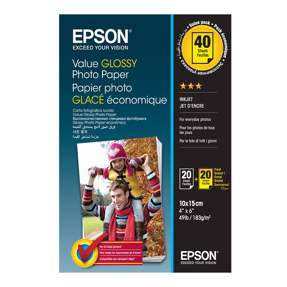Φωτογραφικό Χαρτί EPSON Value Glossy 10x15cm 183 g/m² 2x20 Φύλλα (C13S400044) (EPSS400044)