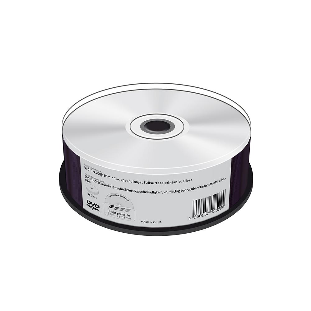 MediaRange DVD-R 4.7GB|120min 16x speed, silver, inkjet fullsurface printable, Cake 25 (MR415)