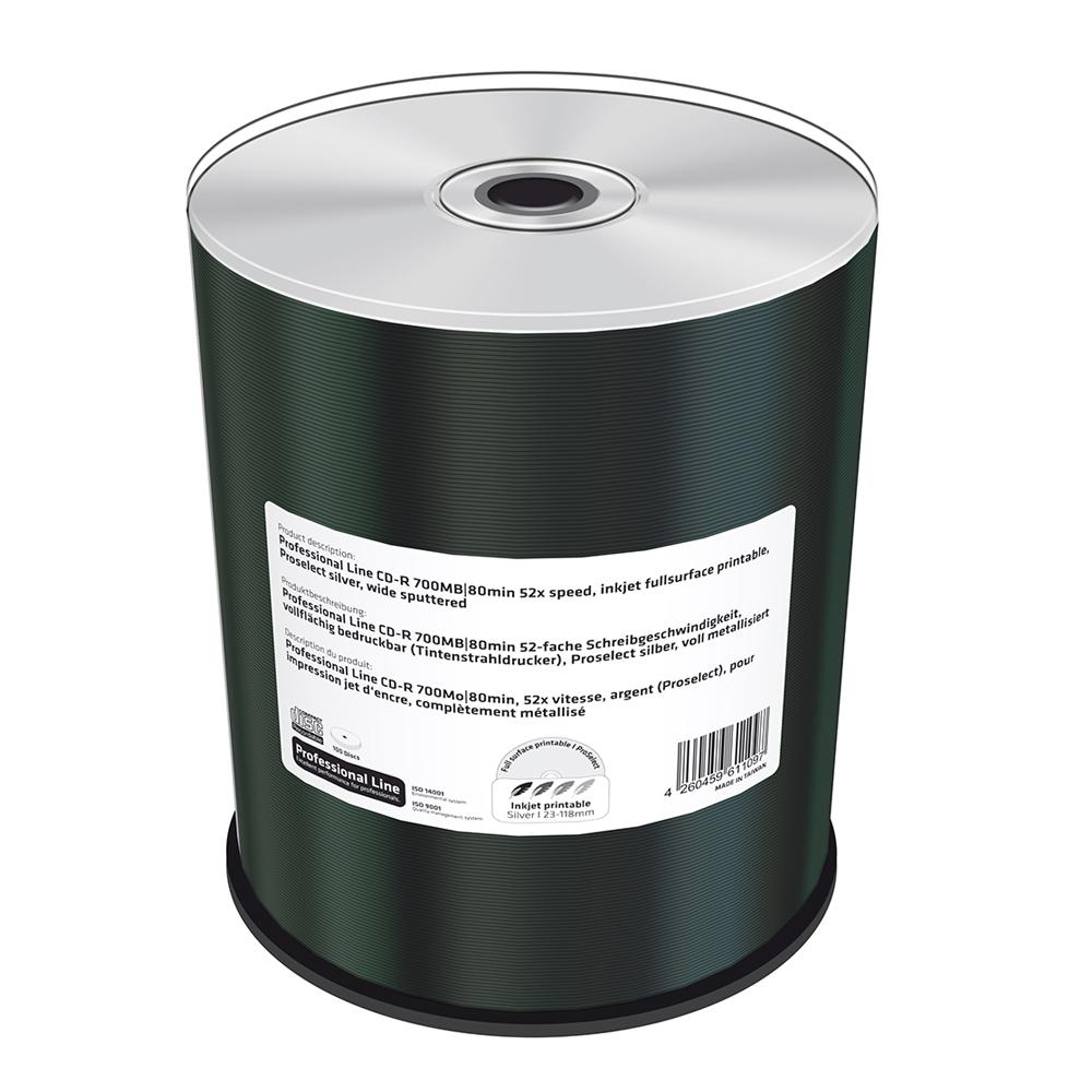 MediaRange Professional Line CD-R 700MB|80min 52x speed, inkjet fullsurface printable, Proselect silver, wide sputtered, Cake 100 (MRPL502)
