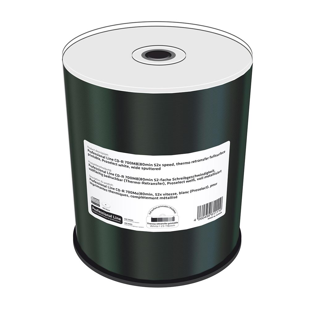 MediaRange Professional Line CD-R 700MB|80min 52x speed, thermo retransfer fullsurface printable, Proselect white, wide sputtered, Cake 100 (MRPL503-C)