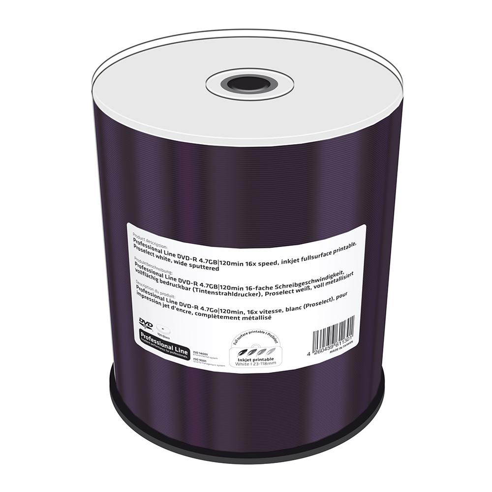 MediaRange Professional Line DVD-R 4.7GB|120min 16x speed, inkjet fullsurface printable, Proselect white, wide sputtered, Cake 100 (MRPL601-C)