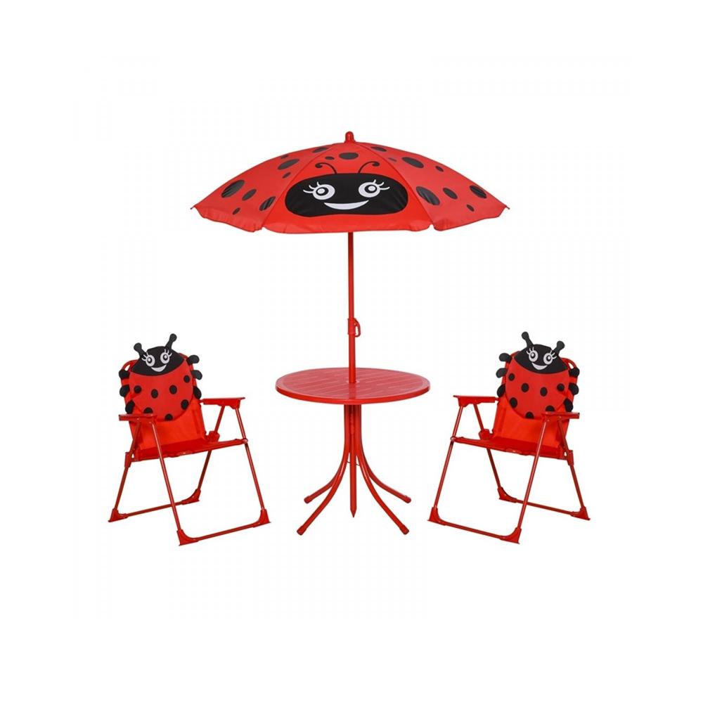 Σετ Παιδικό Σαλόνι Κήπου με Τραπέζι 2 Καρέκλες και Ομπρέλα Πασχαλίτσα 4 τμχ Outsunny (312-024RD)