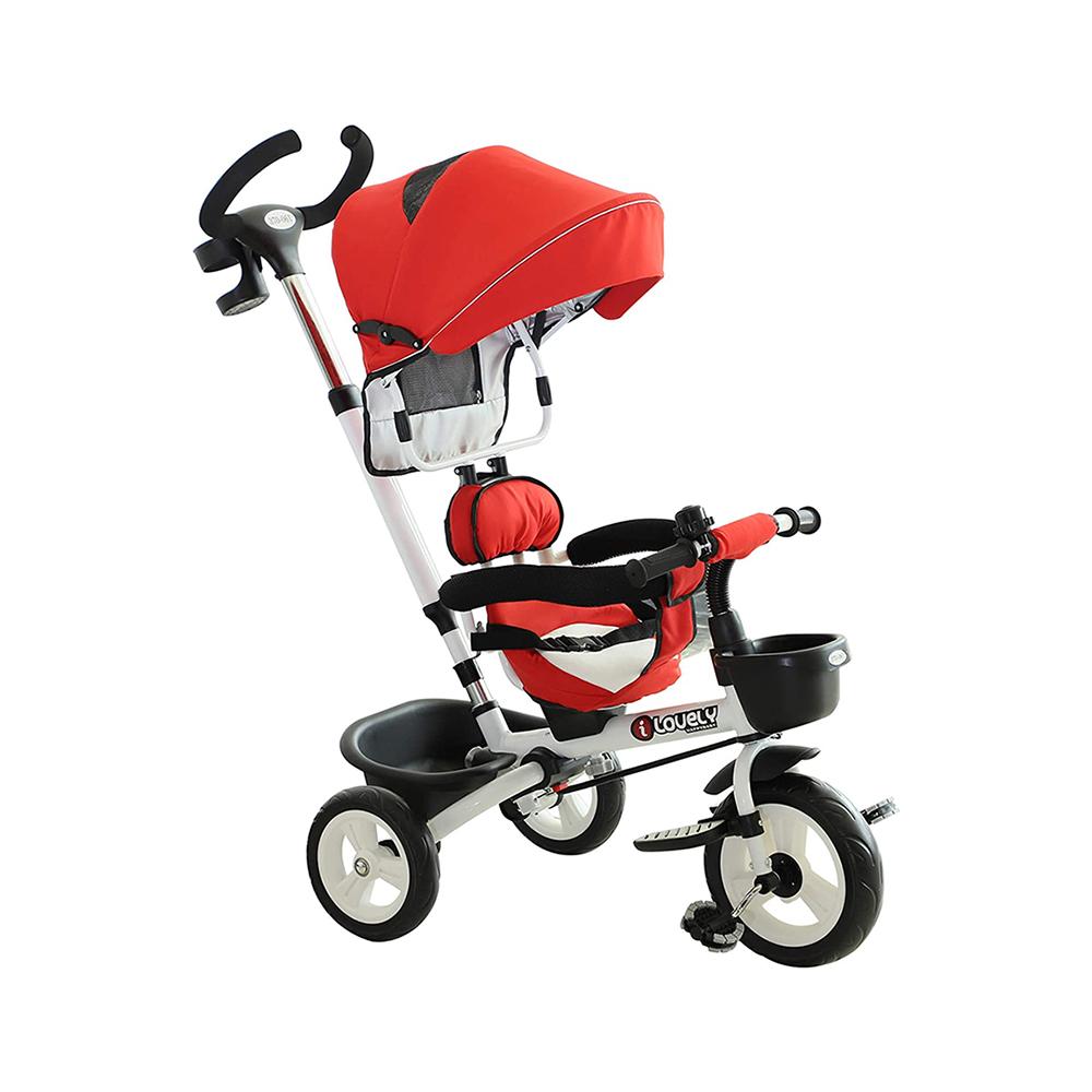 Homcom Τρίκυκλο Παιδικό Ποδήλατο - Καρότσι Χρώματος Κόκκινο (370-027RD) (HOM370-027RD)
