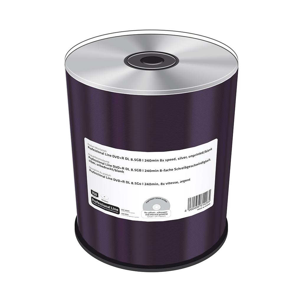 MediaRange Professional Line DVD+R Double Layer 8.5GB|240min 8x speed, inkjet fullsurface printable, Proselect white, Cake 100 (MRPL607-C)