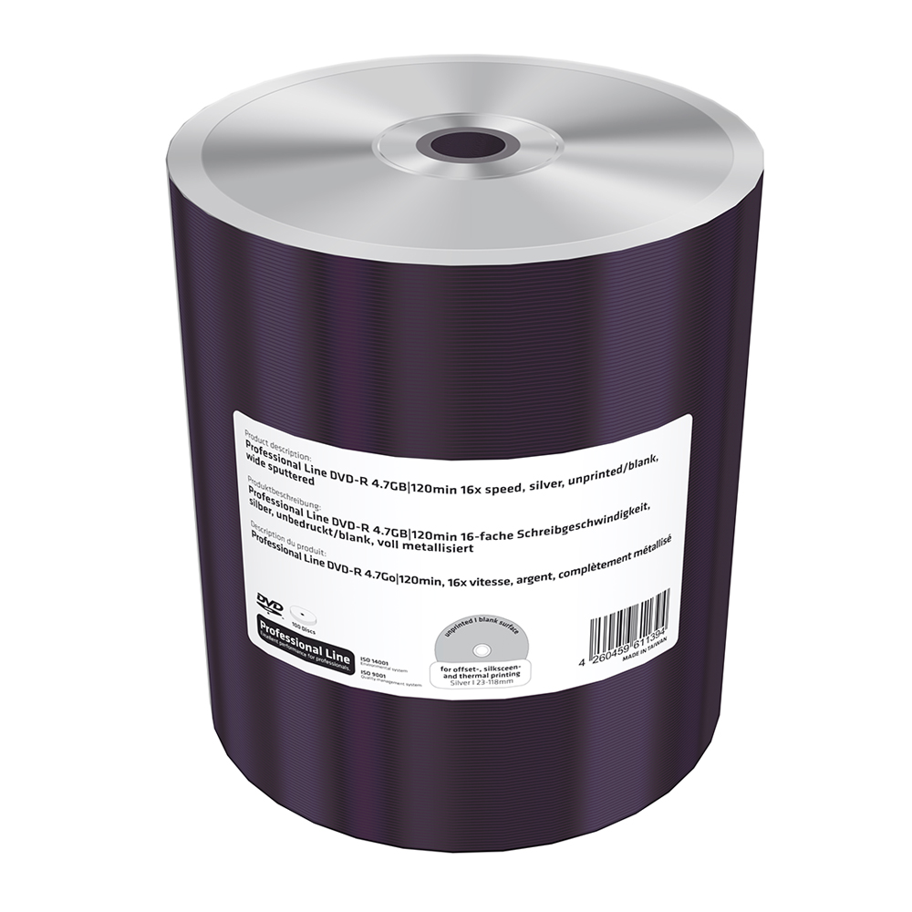 MediaRange Professional Line DVD-R 4.7GB|120min 16x speed, silver, unprinted/blank, wide sputtered, Shrink 100 (MRPL608-C)