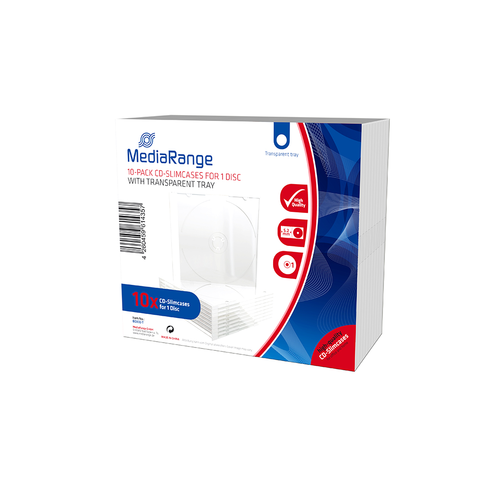 MediaRange CD Slimcase for 1 Disc 5.2mm Transparent Tray (10 Pack) (MRBOX32-T)