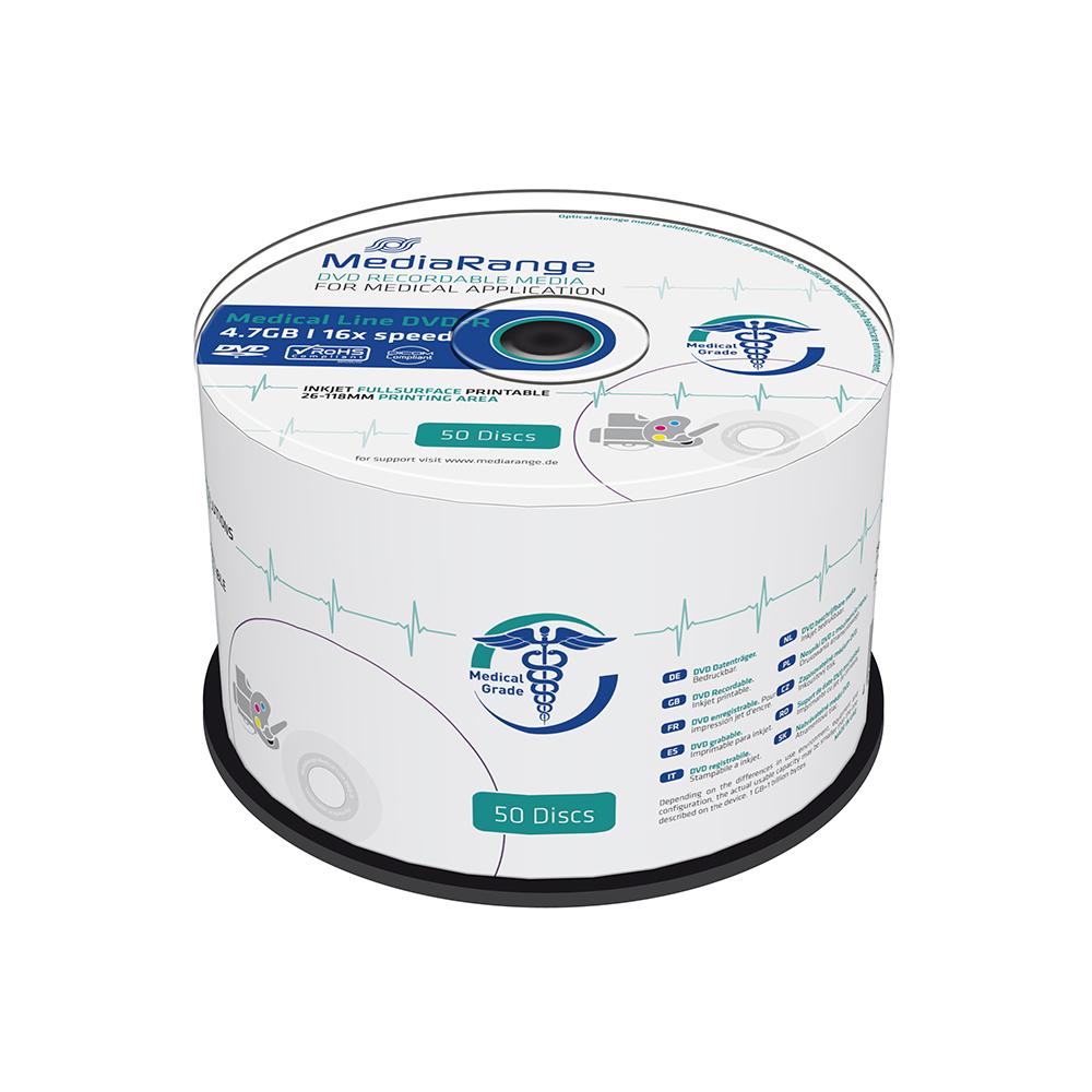 MediaRange Medical Line DVD-R 120' 4.7GB 16x Inkjet Fullsurface Printable Cake Box x 50 (MR429)