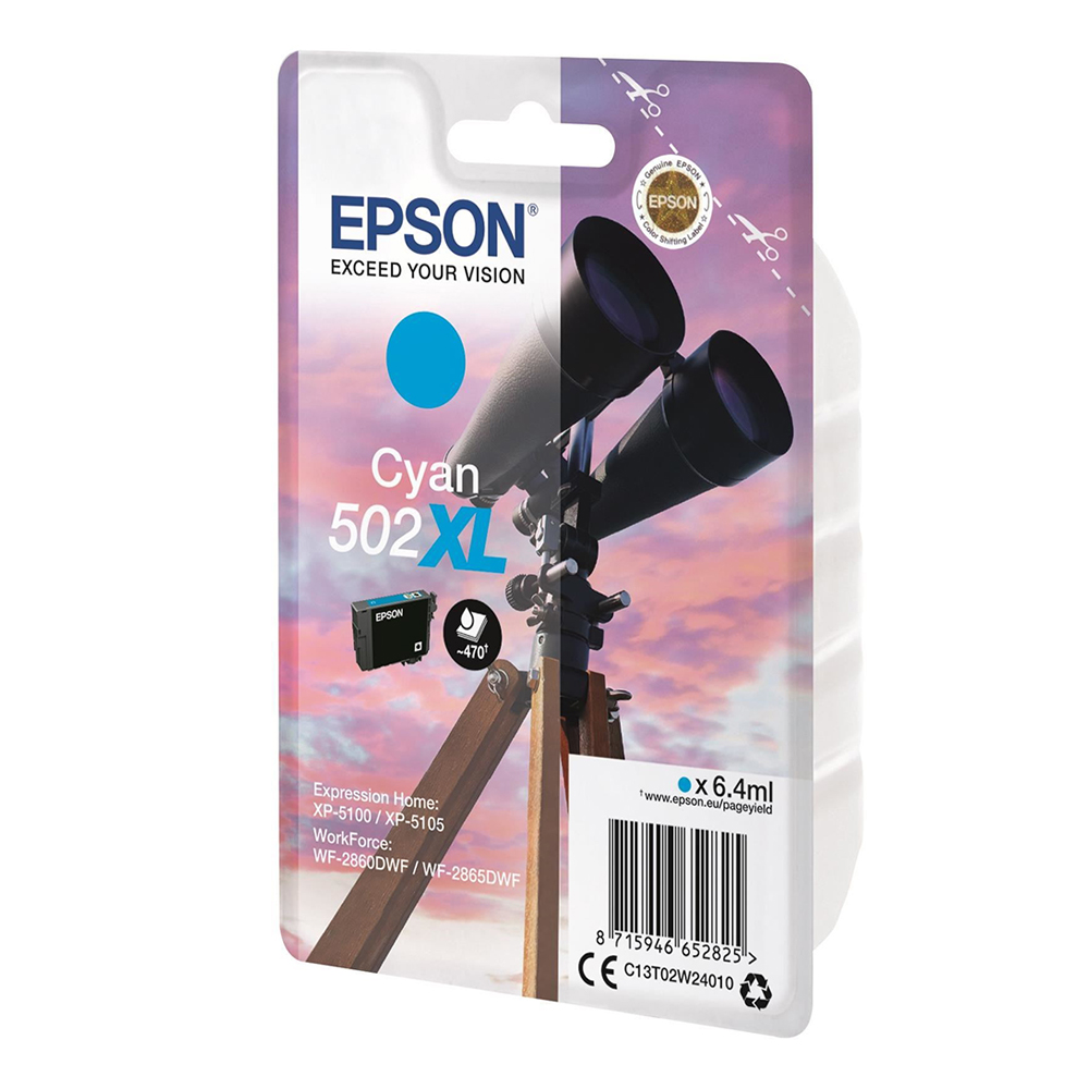 Epson Μελάνι Inkjet 502XL Cyan (C13T02W24010) (EPST02W240)