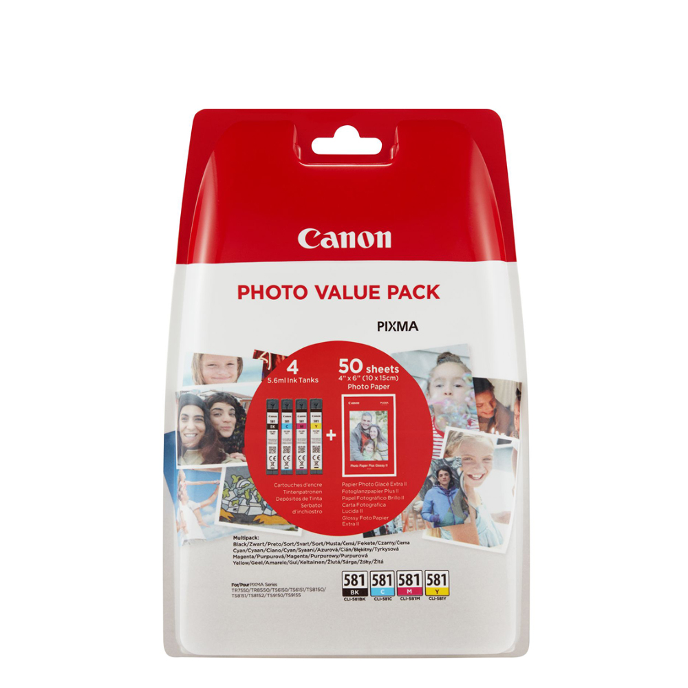 Canon Μελάνι Inkjet CLI-581VP BK/C/M/Y + PHOTO PAPER (2106C005) (CANCLI-581VP)