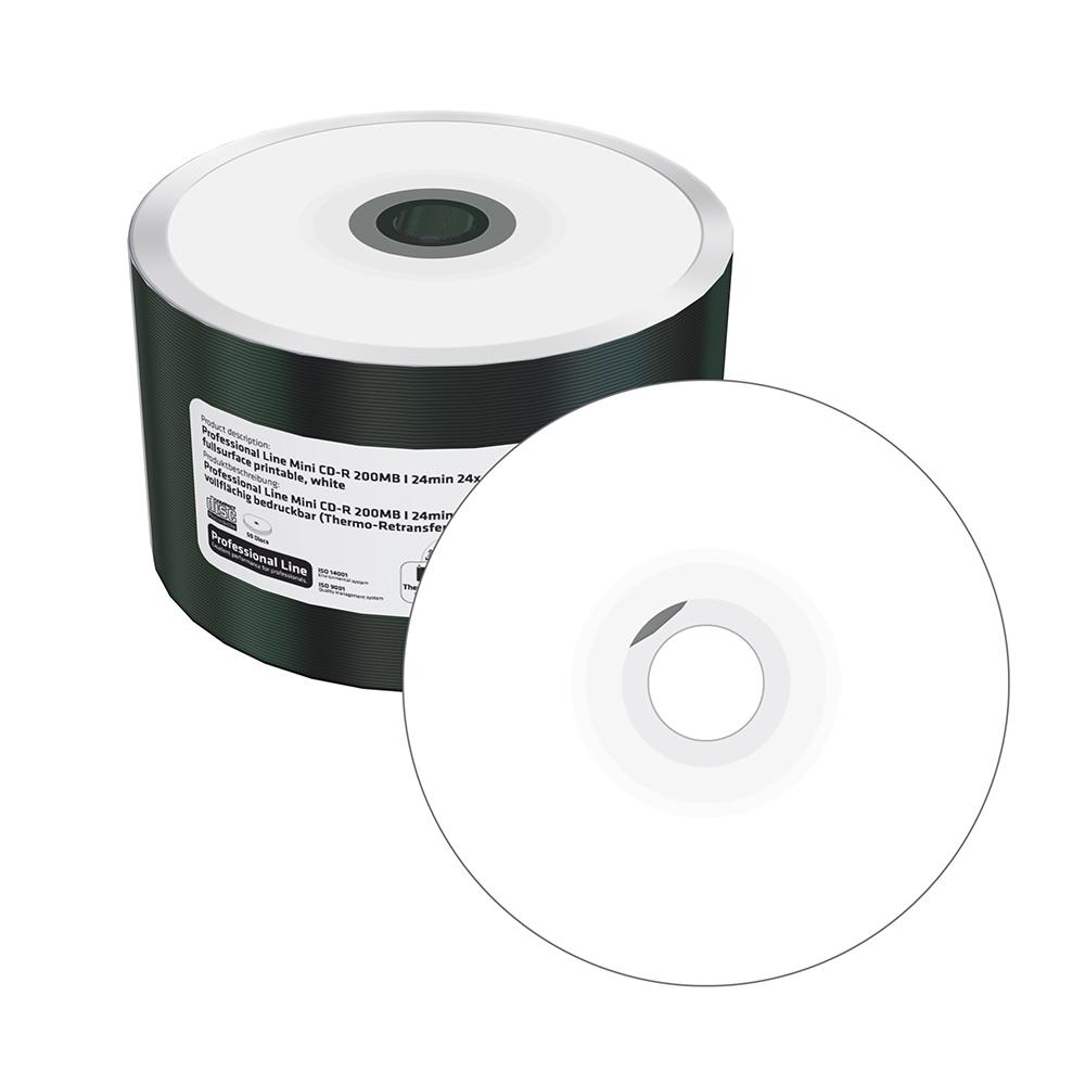 MediaRange Professional Line Mini CD-R 200MB|22min 24x speed, thermo retransfer fullsurface printable, white, Shrink 50 (MRPL520)