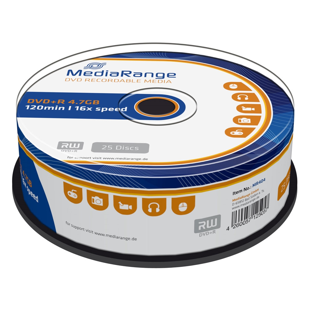 MediaRange DVD+R 120' 4.7GB 16x Cake Box x 25 (MR404)