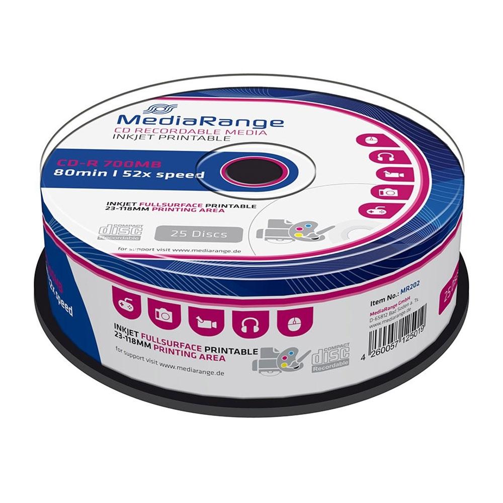 MediaRange CD-R 80' 700MB 52x Inkjet Fullsurface Printable Cake x 25 (MR202)