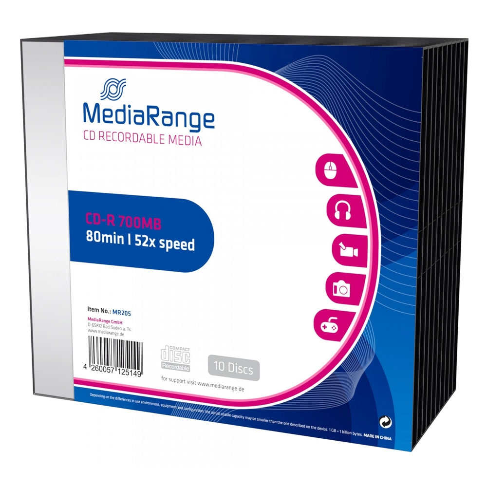 MediaRange CD-R 80' 700MB 52x Slimcase Pack x 10 (MR205)