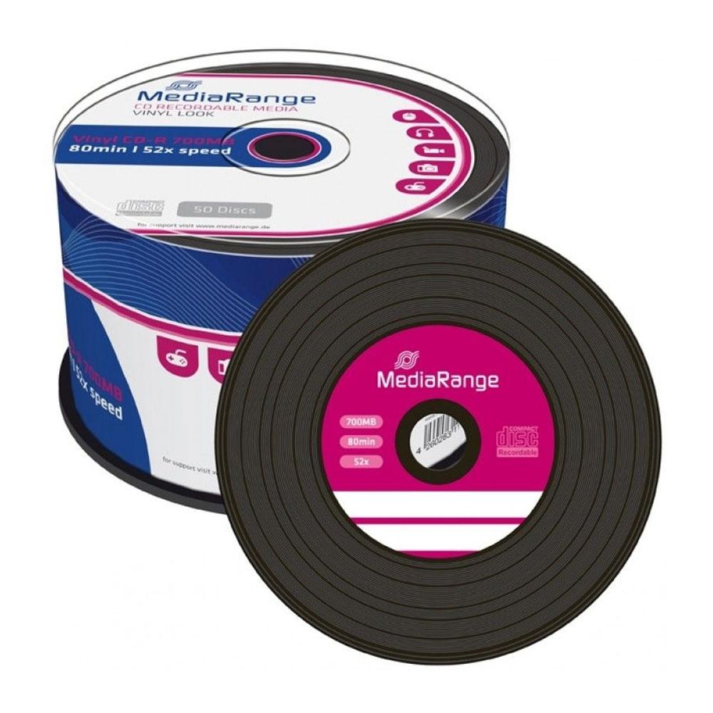 MediaRange Vinyl CD-R 80' 700MB 52x Black dye Cake x 50 (MR225)