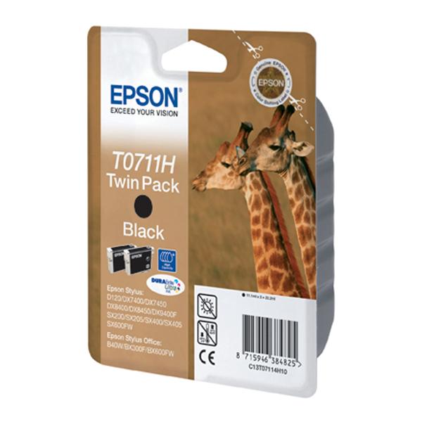 Epson Μελάνι Inkjet T0711H Twin Pack Black (C13T07114H10) (EPST07114H)