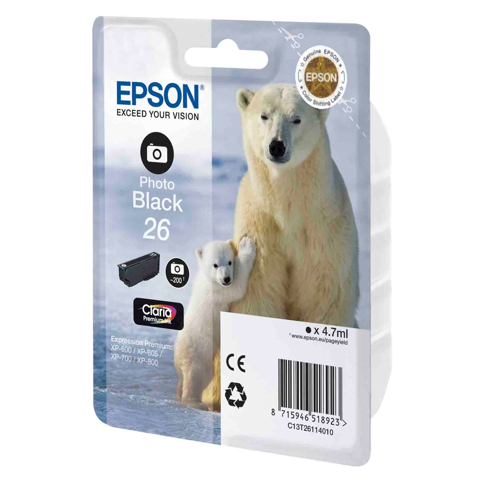 Epson Μελάνι Inkjet No.26 Photo Black (C13T26114012) (EPST261140)