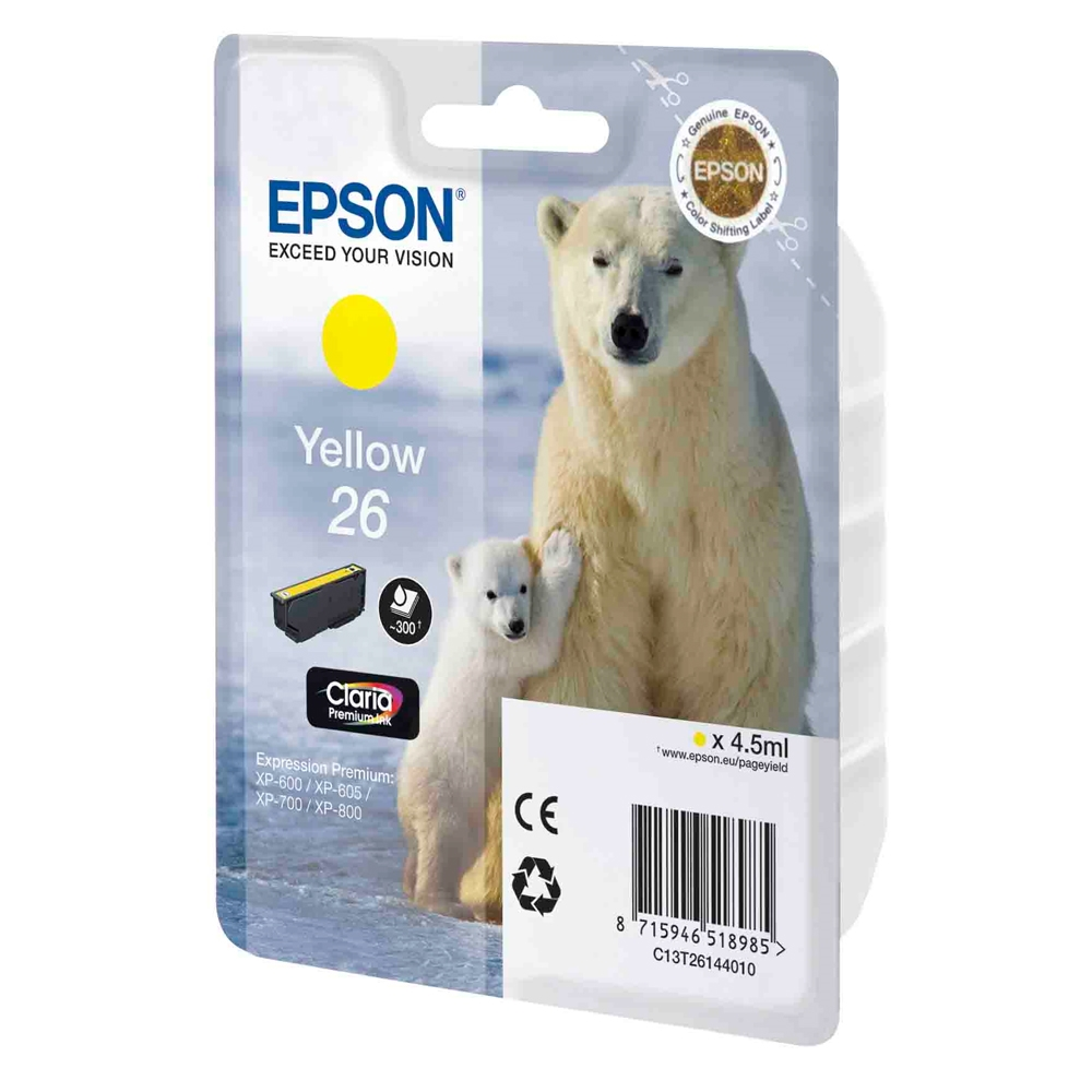 Epson Μελάνι Inkjet No.26 Yellow (C13T26144012) (EPST261440)