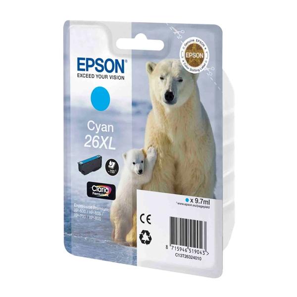 Epson Μελάνι Inkjet No.26 XL Cyan (C13T26324012) (EPST263240)