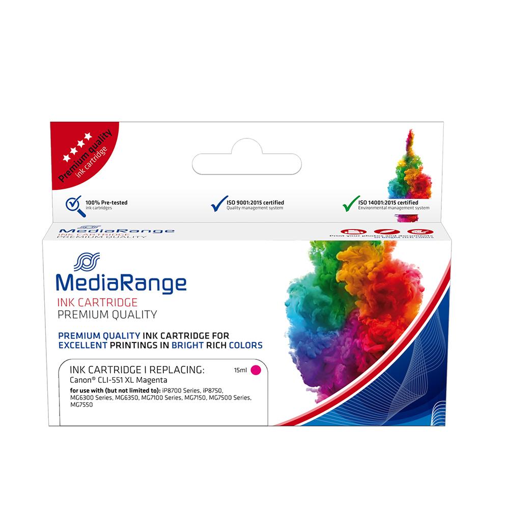 Inkjet MEDIARANGE Συμβατό για Εκτυπωτές Canon (Magenta) (CLI-551MXL) (MRCC551MXL)