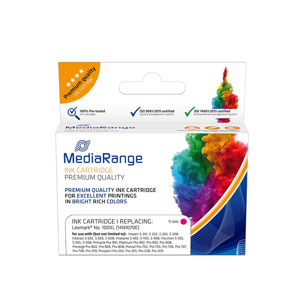 Inkjet MEDIARANGE Συμβατό για Εκτυπωτές Lexmark No.100XL (Magenta) (14N1070E) (MRLX100MXL)