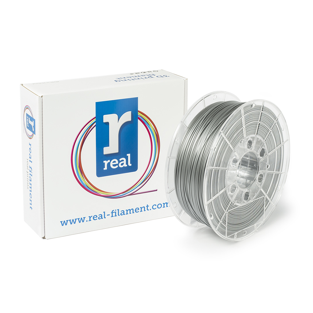 REAL PLA 3D Printer Filament - Satin Silver - spool of 0.75Kg - 1.75mm (REFPLASATINSILVER750MM175)