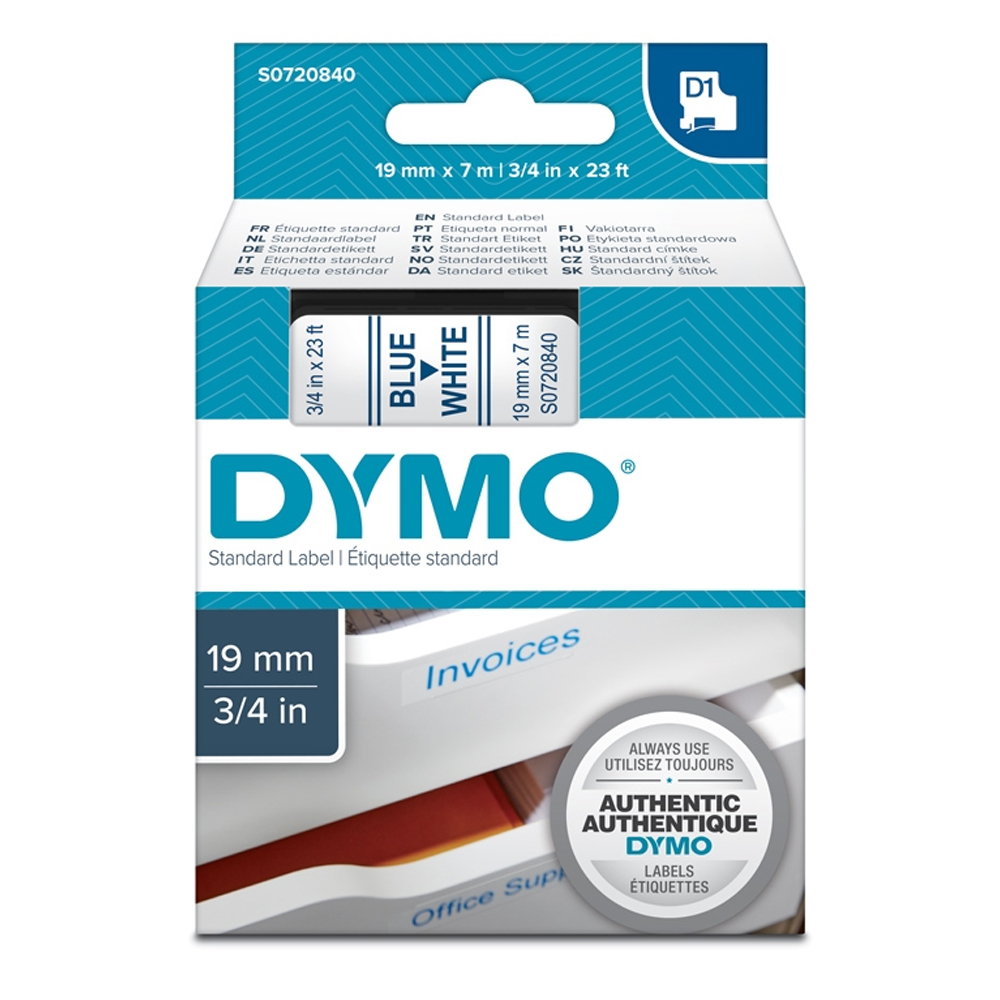 Ταινία Ετικετογράφου DYMO Standard 45804 19 mm x 7 m (Μπλέ Γράμματα σε Λευκό Φόντο) (S0720840) (DYMO45804)