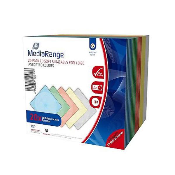 MediaRange CD Soft Slimcase for 1 Disc 5.0mm Assorted Colours (20 Pack) (MRBOX37)
