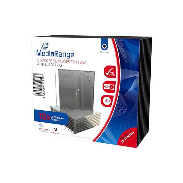 MediaRange CD Slimcase for 1 Disc 5.2mm Black Tray (10 Pack) (MRBOX32)