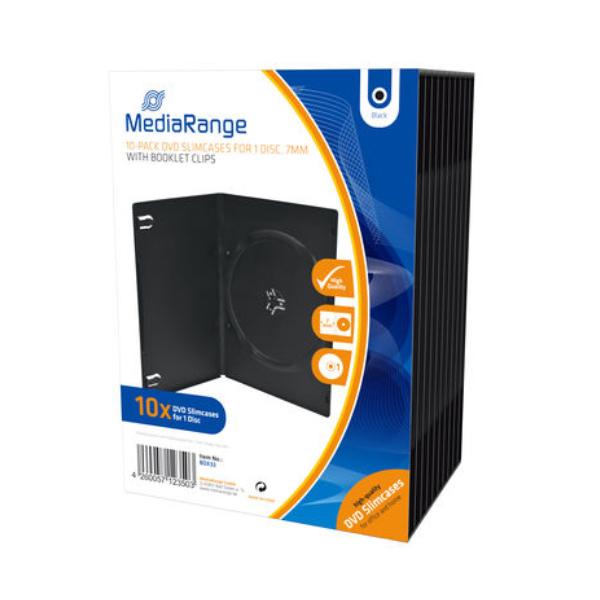 MediaRange DVD Slimcase  for 1 Disc 7mm Black  (10 Pack) (MRBOX33)